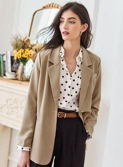 Solid Chic Long Sleeve Straight Blazer