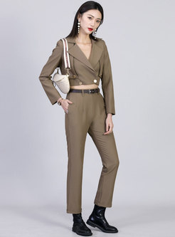 Brief Lapel Long Sleeve Top Straight Pant Suits