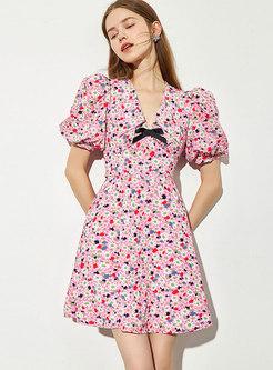 Pink Lapel Print Puff Sleeve A Line Mini Dress