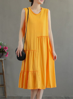Plus Size Crew Neck Sleeveless Shift Midi Dress