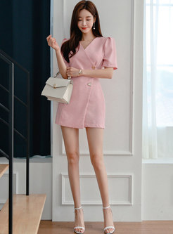 Pink V-neck Puff Sleeve High Waisted Rompers