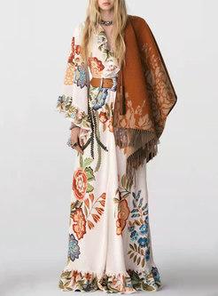 Boho V-neck Long Sleeve Ruffle Print Maxi Dress