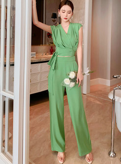 Green V-neck Pullover Crop Top & High Waisted Palazzo Pants