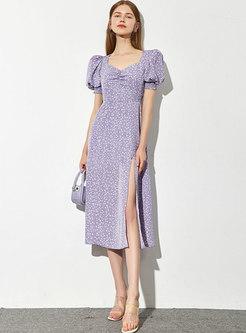 Square Neck Print A Line Split Midi Dress