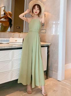 Green Halter Neck High Waisted Elegant Jumpsuits