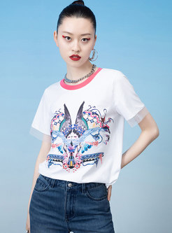 Print Pullover Back Strappy Short Sleeve T-shirt