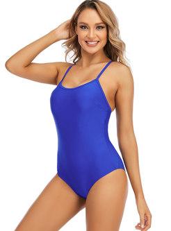 Scoop Neck Backless One Piece Swimwear