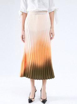High Waisted Tie Dye Pleated Maxi Skirt