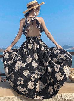 Black Print Halter Backless Big Hem Maxi Dress