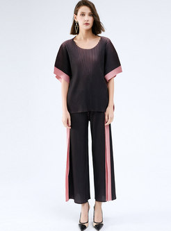 Casual Color-blocked Pleated Wide Leg Pant Suits