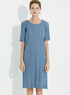 Casual Crew Neck Pleated Fringed A Line Dress