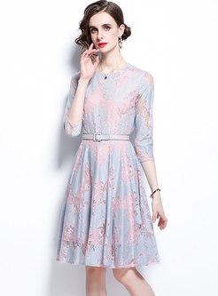 3/4 Sleeve Lace Patchwork Belted Skater Dress
