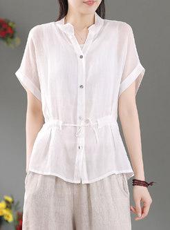 V-neck Single-breasted Drawstring Blouse