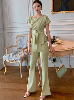 Crew Neck Short Sleeve Belted Flare Pant Suits