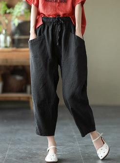 High Waisted Drawstring Linen Harem Pants
