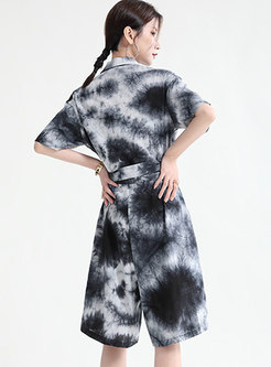 Casual Turn-down Collar Tie Dye Plus Size Rompers