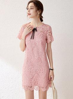 Sweet Bowknot Patchwork Openwork Lace Mini Dress