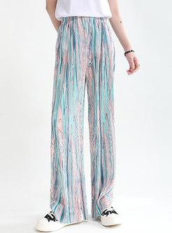 Casual High Waisted Split Chiffon Straight Pants