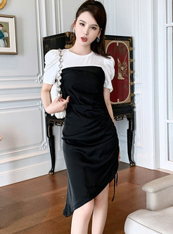 Color-blocked Patchwork Drawstring Bodycon Dress