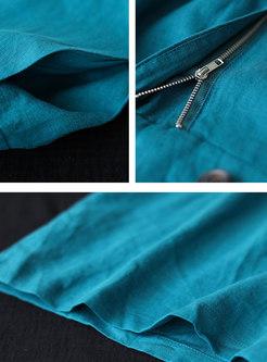 Notched Collar Linen Capri Wide Leg Jumpsuits