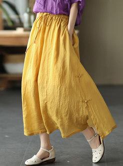 Casual High Waisted Big Hem Linen Maxi Skirt