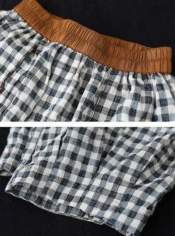 High Waisted Plaid Capri Harem Pants