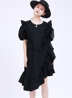 Plus Size Ruffle Asymmetric Shift T-shirt Dress