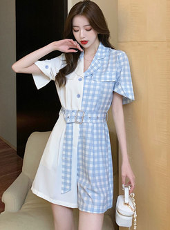 Notched Patchwork Plaid High Waisted Wide Leg Rompers