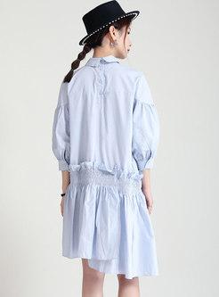 Turn-down Collar Ruched Ruffle Shirt Dress