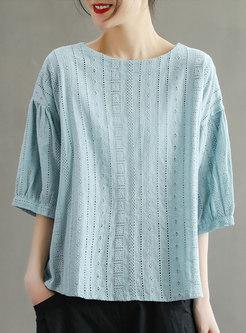 Retro Plus Size Pullover Openwork T-shirt