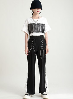Casual High Waisted Patchwork Straight Pants