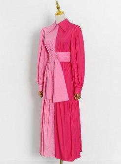 Turn-down Collar Patchwork Big Hem Maxi Dress