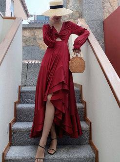 Wine Red Long Sleeve Backless Big Hem Maxi Dress