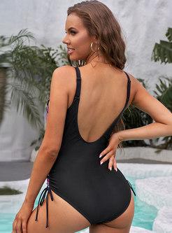 Sexy V-neck Backless Striped One Piece Swimwear