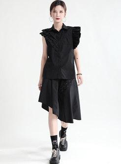 Casual Turn-down Collar Asymmetric Skirt Suits