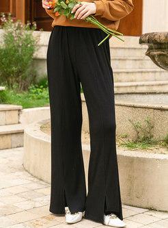 Casual High Waisted Split Flare Pants