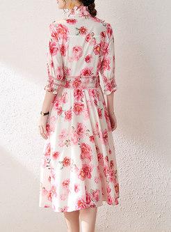 Pink Mock Neck Print A Line Midi Dress