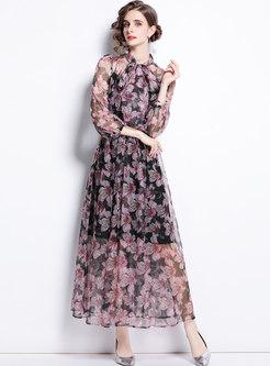Mock Neck Bowknot Print Chiffon Maxi Dress