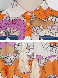 Turn-down Collar Puff Sleeve Print Maxi Dress