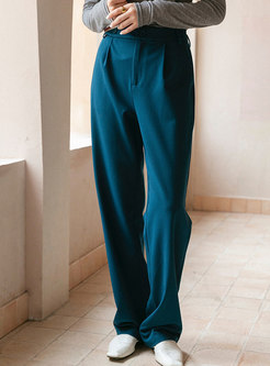 Casual High Waisted Long Straight Pants