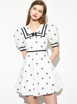 White Lapel Embroidered High Waisted Mini Dress