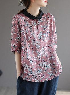 Color-blocked Lapel Print Pullover Linen Blouse