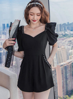 Square Neck Puff Sleeve Wide Leg Rompers