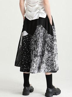 Color-blocked High Waisted Print Maxi Skirt