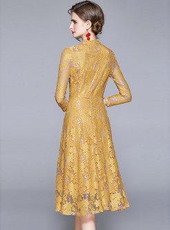 Long Sleeve Lace A Line Midi Bridesmaid Dress