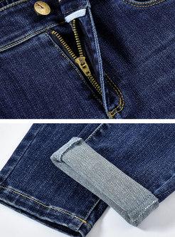 Blue High Waisted Denim Pencil Pants