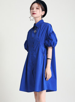 Casual Puff Sleeve Single-breasted Shift Shirt Dress