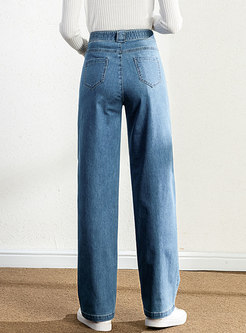 High Waisted Long Denim Wide Leg Pants