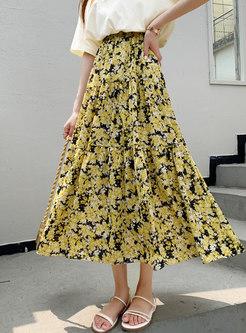 High Waisted Floral Big Hem Maxi Skirt