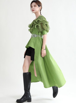 Crew Neck Ruffle Patchwork Asymmetric Shift Dress